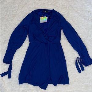 Missguided - Royal blue sleeve wrap dress